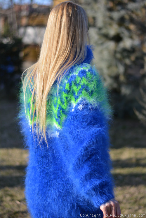 Royal blue Icelandic mohair sweater
