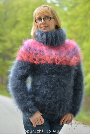 On request Hand knitted fuzzy Icelandic mohair sweater