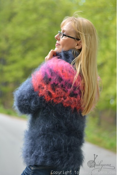 Hand knitted fuzzy Icelandic mohair sweater