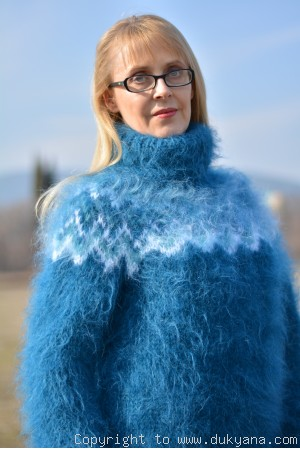 Hand knitted womens fuzzy Icelandic T-neck mohair sweater