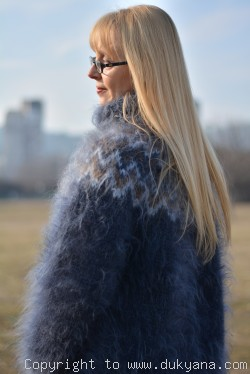 Hand knitted fuzzy Icelandic mohair T-neck sweater in steel gray