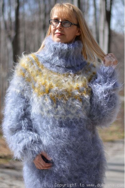 Hand knitted fuzzy Icelandic T-neck mohair sweater in light blue
