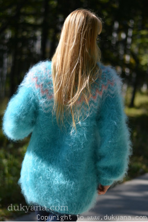 Fuzzy Icelandic T-neck mohair sweater in turquoise blue