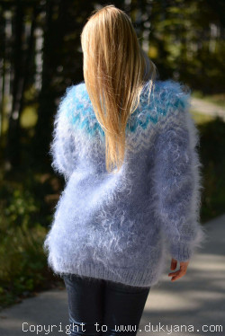Hand knitted Icelandic T-neck mohair sweater in blue