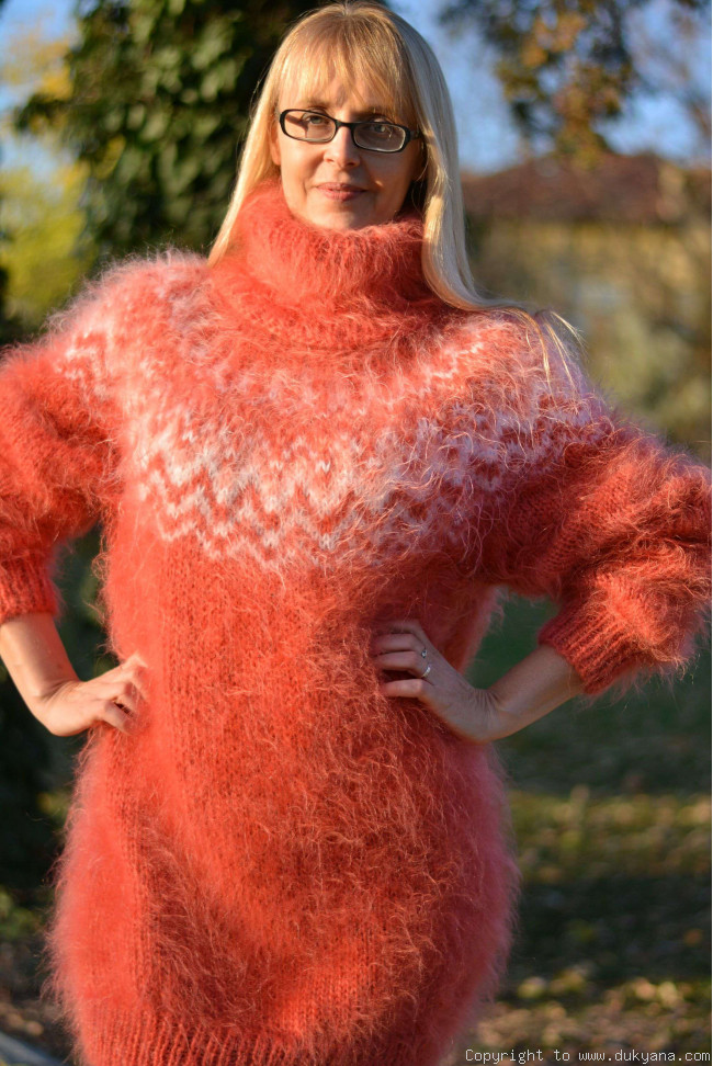 f966aa558ec Fuzzy and soft Icelandic T-neck mohair sweater dress in coral/I63