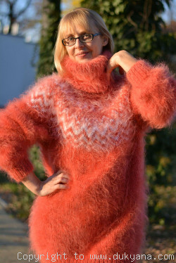 Fuzzy and soft Icelandic T-neck mohair sweater dress in coral