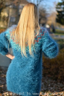 Fuzzy and soft Icelandic T-neck mohair sweater dress in teal blue