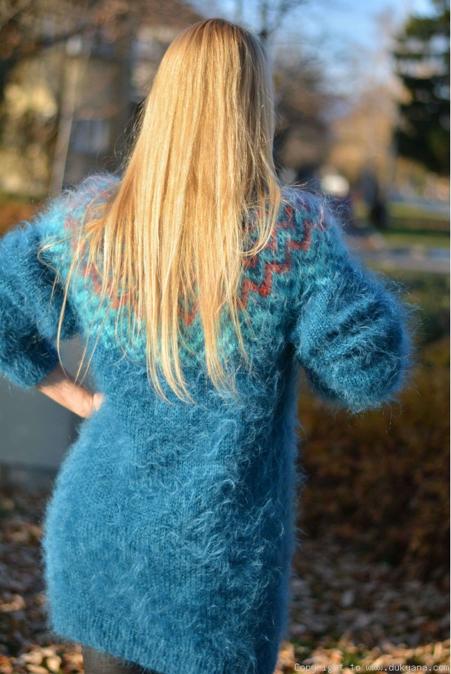 Fuzzy and soft Icelandic T-neck mohair sweater dress in teal blue I64 83e8e1110