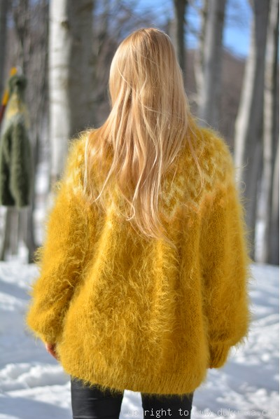 Icelandic T-neck mohair sweater in mustard yellow