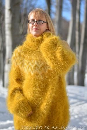 Icelandic T-neck mohair sweater in mustard yellow