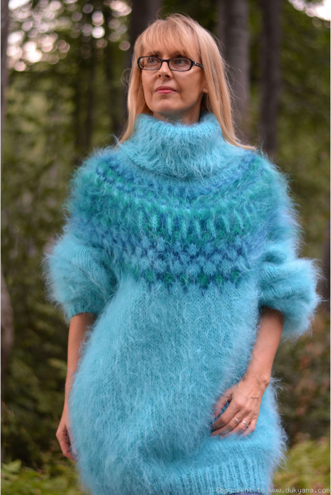 4ca359811cd Icelandic mohair sweater dress in turquoise blue/I69