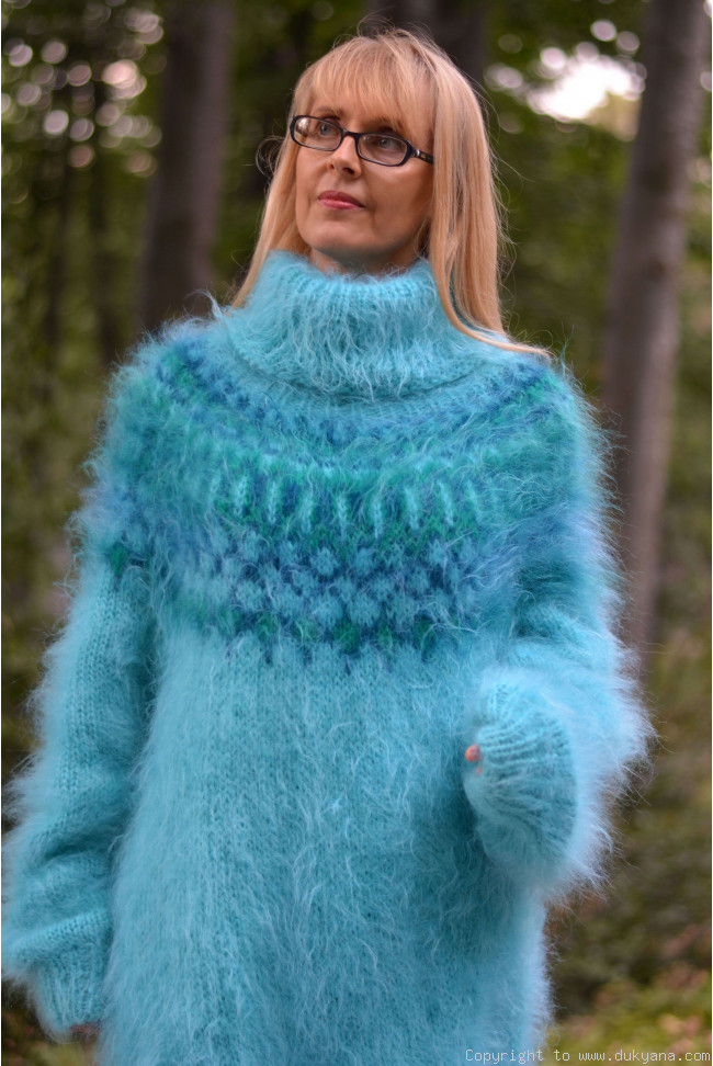Icelandic mohair sweater dress in turquoise blue I69 5d438f7a1