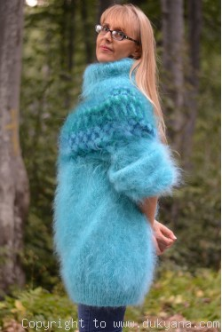 Icelandic mohair sweater dress in turquoise blue
