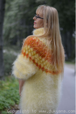 Icelandic mohair sweater dress in pale yellow