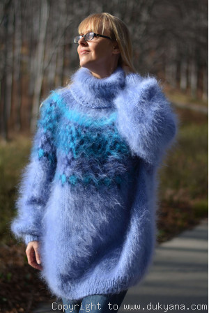 On request knitted Icelandic mohair sweater dress in blue
