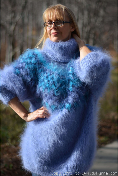 Icelandic mohair sweater dress in blue