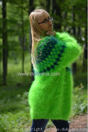 Icelandic T-neck mohair sweater in vibrant green