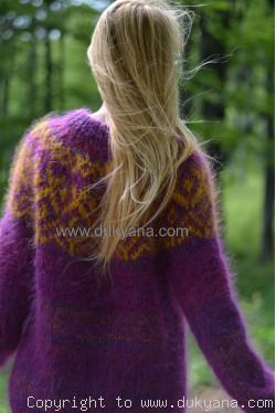 Icelandic crewneck wool mohair sweater in purple mix