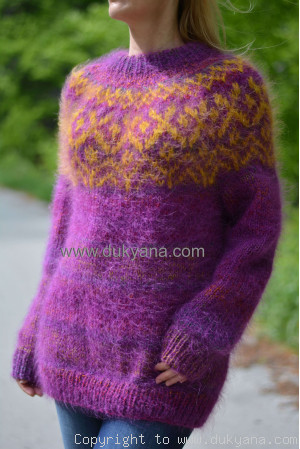 Icelandic crewneck wool mohair sweater in purple mix