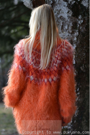 Icelandic mohair sweater in bright orange