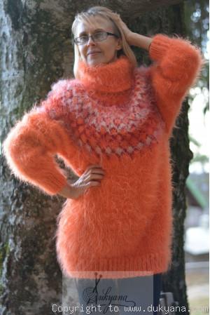 Icelandic mohair sweater in bright orange