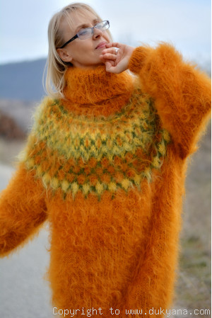 Handknit Icelandic sweater made from mohair in pumpkin orange