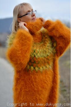 Handknit Icelandic sweater made from mohair in pumpkin orange