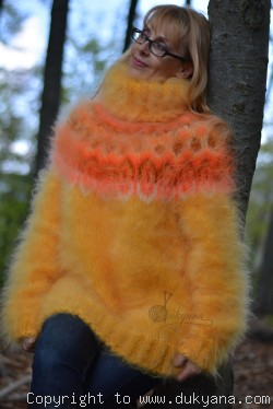 Hand knitted fuzzy Icelandic T-neck mohair sweater in ducklin yellow
