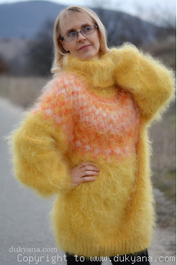 Handknit Icelandic turtleneck sweater in golden yellow