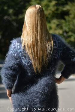 Icelandic mohair sweater in steel gray
