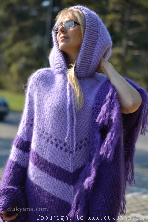 Hooded chunky mohair poncho in purple and lavender