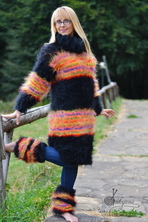 Hand knitted soft and silky mohair set