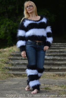 Handknit mohair set of a cropped sweater and matching striped leggings
