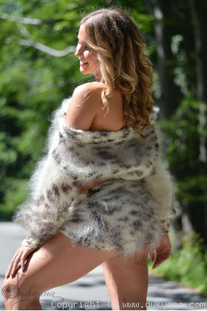 Hand knit mohair 2-piece set of cropped sweater and shorts in animal print