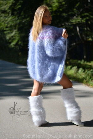 Two-piece fuzzy mohair set of a cardigan and legwarmers in blue