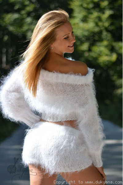 Two-piece mohair set in pure white