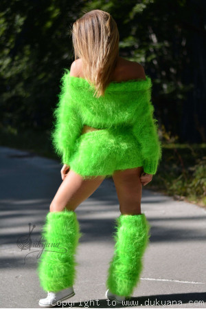 3-piece mohair set in vibrant green