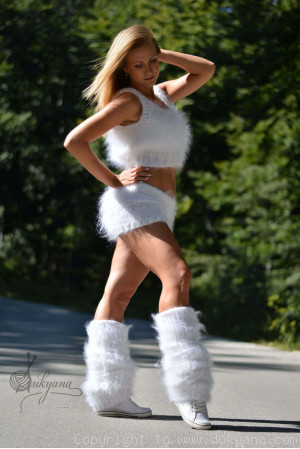3-piece fuzzy mohair set in white