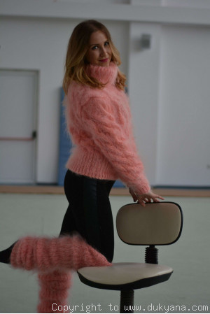 Hand knitted soft and silky cropped mohair Tneck sweater and leggings