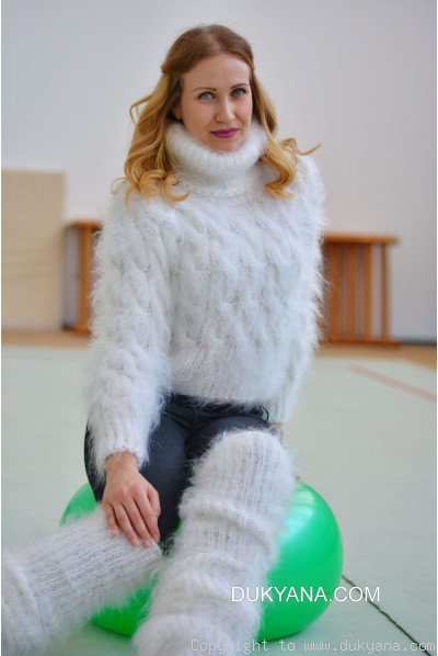 Hand knitted soft and silky cropped mohair Tneck and leggings