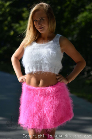 Hand knitted fuzzy mohair flared skirt in fuchsia
