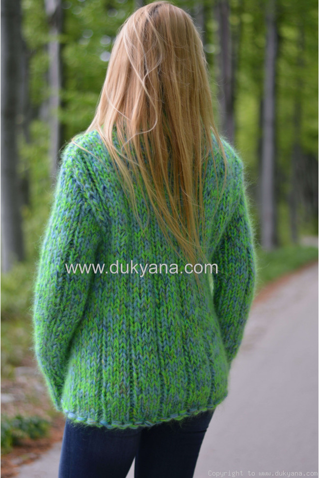 Handmade chunky and soft mohair Tneck sweater in green blue
