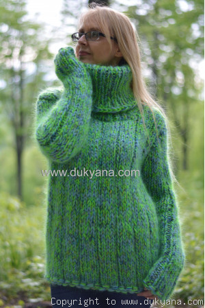 Handmade chunky and soft mohair Tneck sweater unisex
