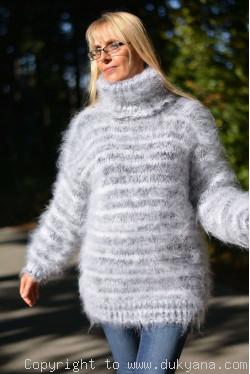 Warm winter fuzzy turtleneck sweater in gray white mix