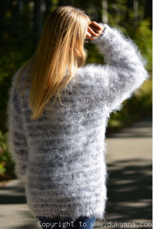 Warm winter fuzzy turtleneck sweater in gray white mix