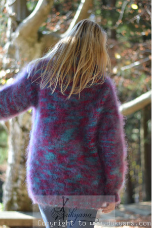 Fluffy mohair turtleneck sweater in purple mix