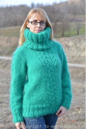 Cabled Tneck mohair sweater in emerald green
