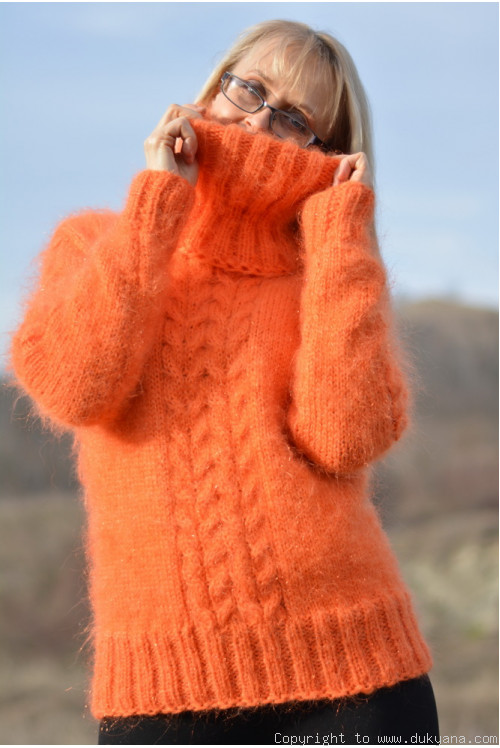 Cabled Tneck mohair sweater in bright orange