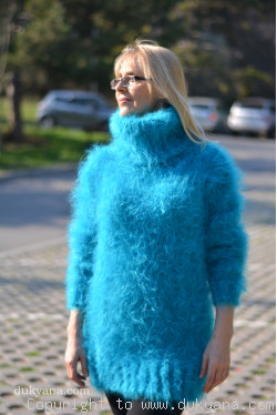 Fuzzy and soft turtleneck mohair sweater in turquoise