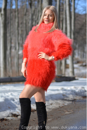Ombre soft and fuzzy mohair sweater in coral